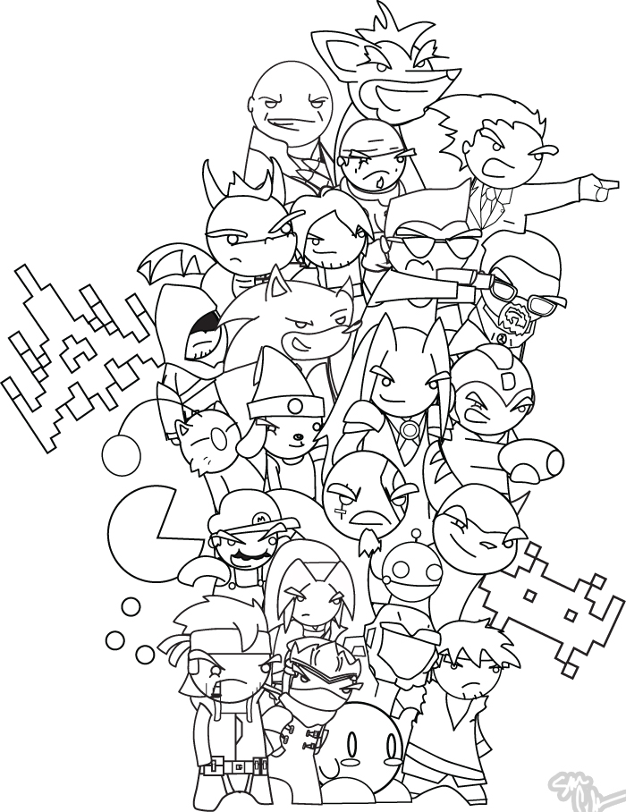 Line Drawing Game : Video game characters bw by the lagz on deviantart