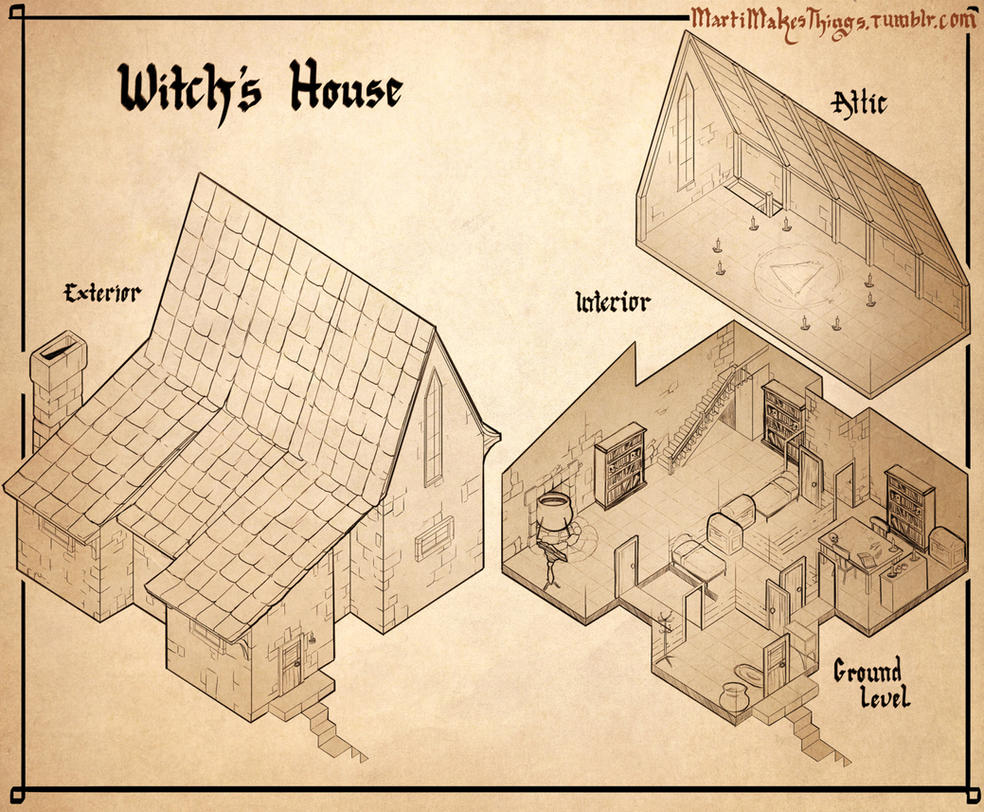Witch 39 s house isometric design by martimakesthings on for House map drawing