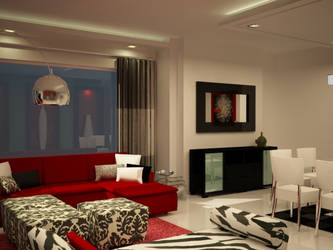 red black and white penthouse by Designed-by-G