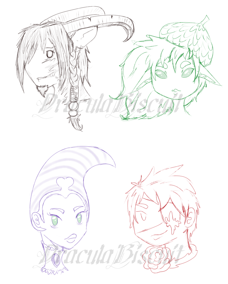 Character sketchy headshots by draculabiscuit