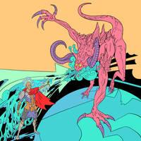 Deathclaw versus Psychic by SanguineSoupKitchen