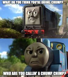 Diesel VS. Thomas meme. by RailToonBronyFan3751