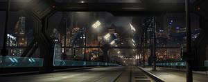 Scifi city street