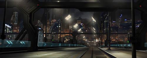 Scifi city street by gunsbins
