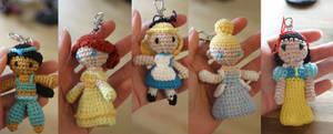 Disney Princesses amigurumi charms