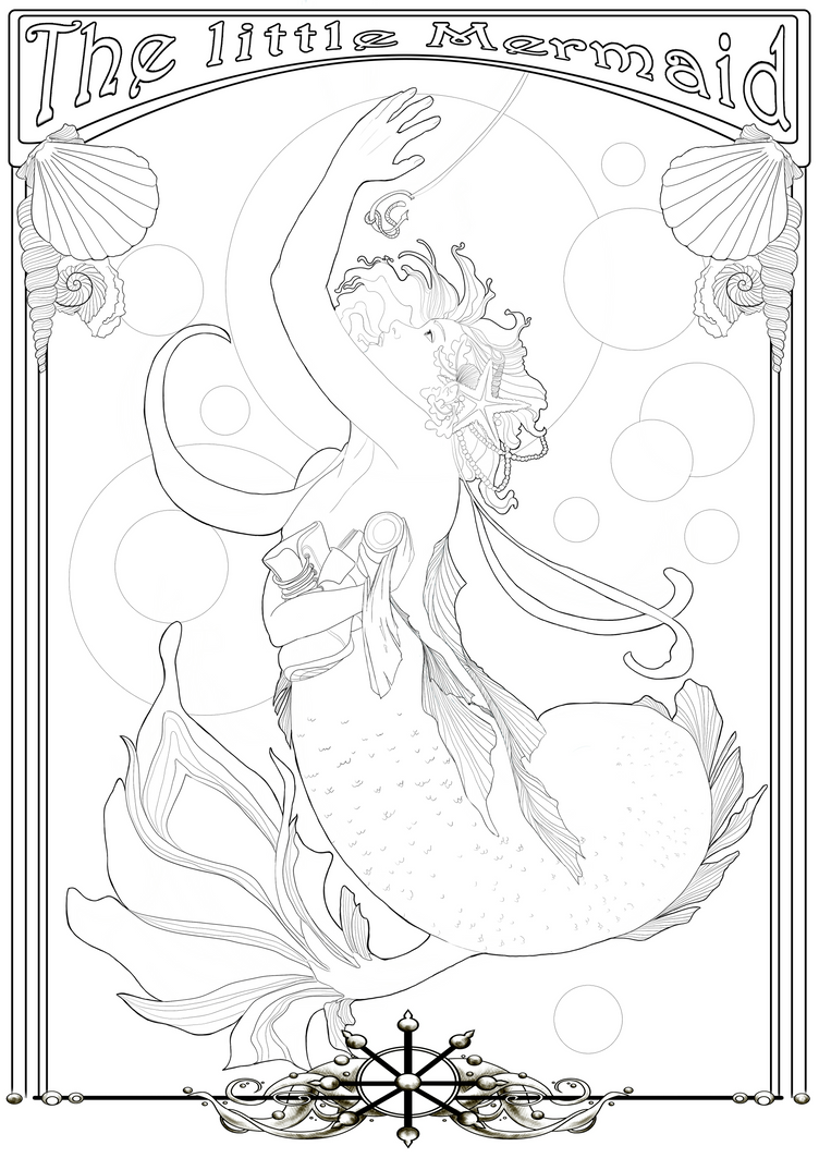 Coloring Page -The little Mermaid- by Herzstueck-Handmade