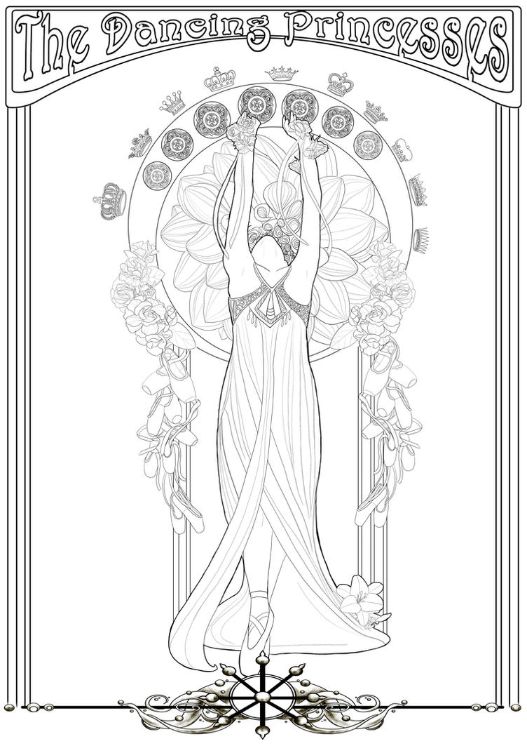 Coloring page -The dancing Princesses- by Herzstueck-Handmade
