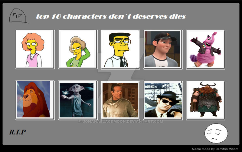Top 10 characters don t deserves dies by toongirl18 on deviantart