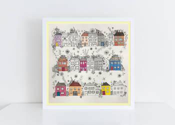 Houses in White Frame