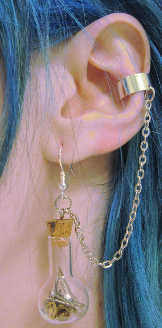 Steampunk Time In A Bottle Ear Cuffs by PunkTrunk