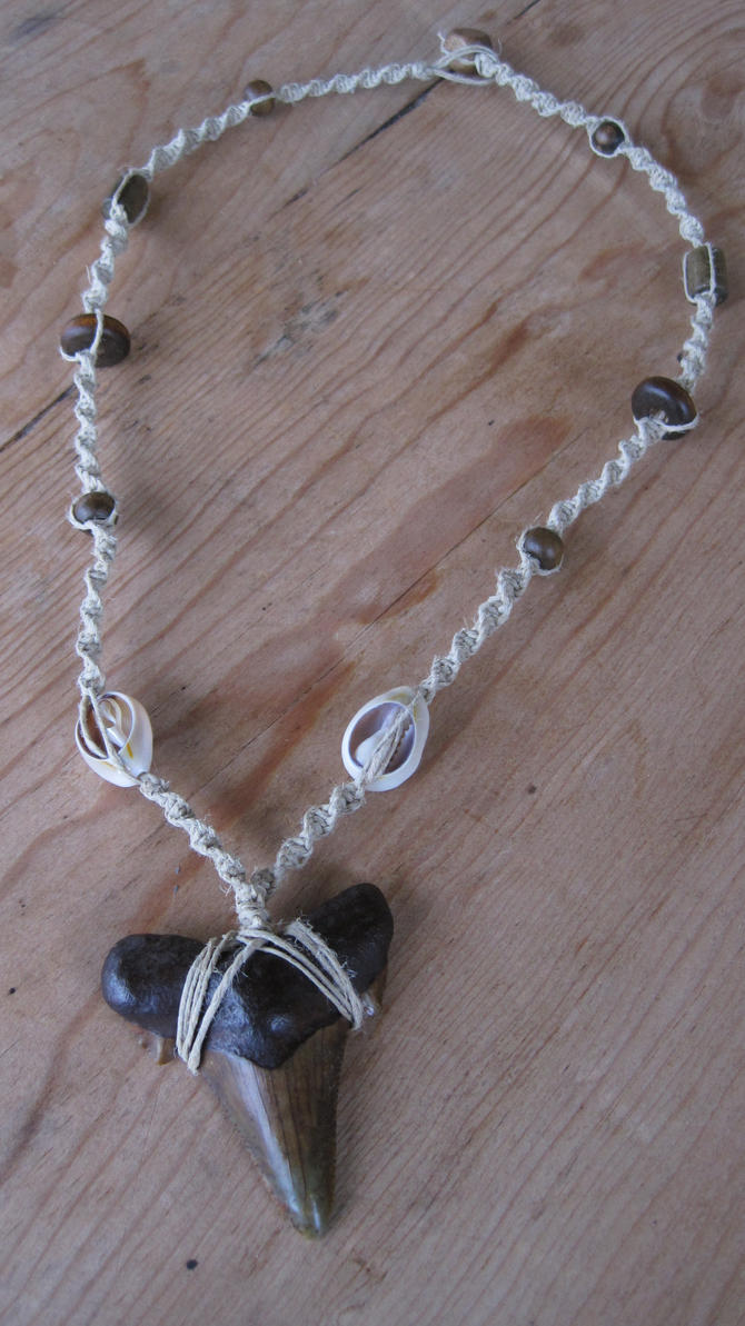 Shark tooth hemp necklace by punktrunk on deviantart shark tooth hemp necklace by punktrunk aloadofball Images