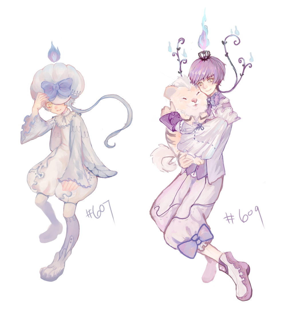 Litwick and Chandelure gijinka by yune-d on DeviantArt