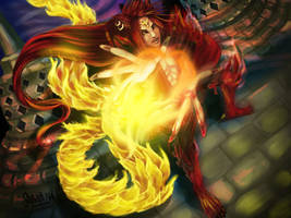 CR BW LAST STAGE OUTBREAK - Fiery Red Wolf by flutist