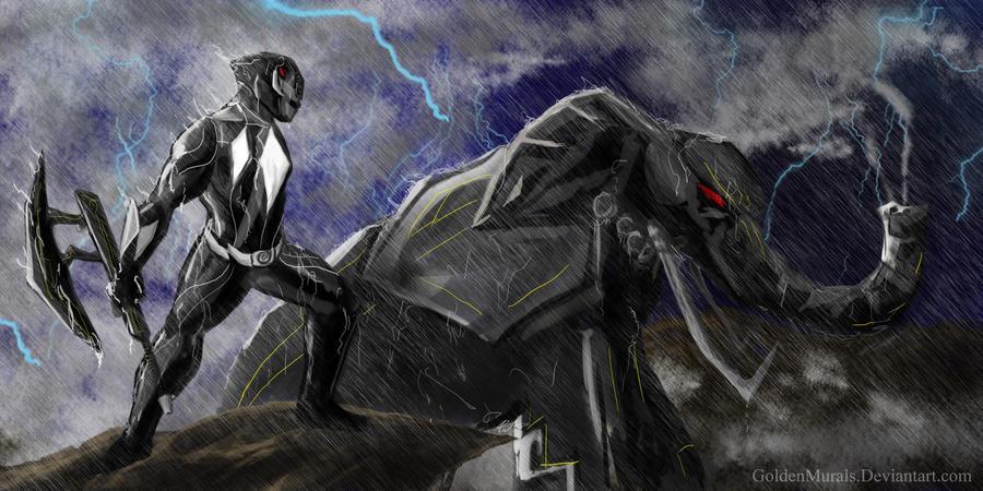 Black power ranger fan art by goldenmurals on DeviantArt