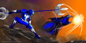 Blue Power Ranger Fan Art by goldenmurals