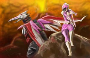 Pink Ranger by goldenmurals
