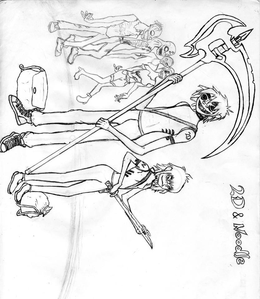 2D, Noodle, Gorillaz -Halloween Zombie Hunters by IamaCapoeiraNinja on ...