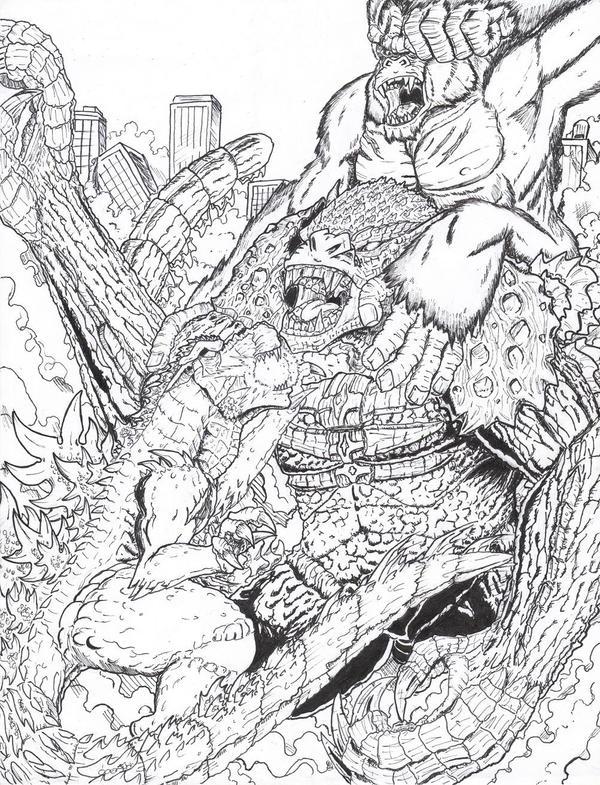 mechagodzilla coloring pages - godzilla vs king kong free coloring pages