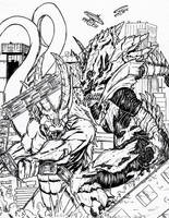 Blazin vs Monster X by Deadpoolrus