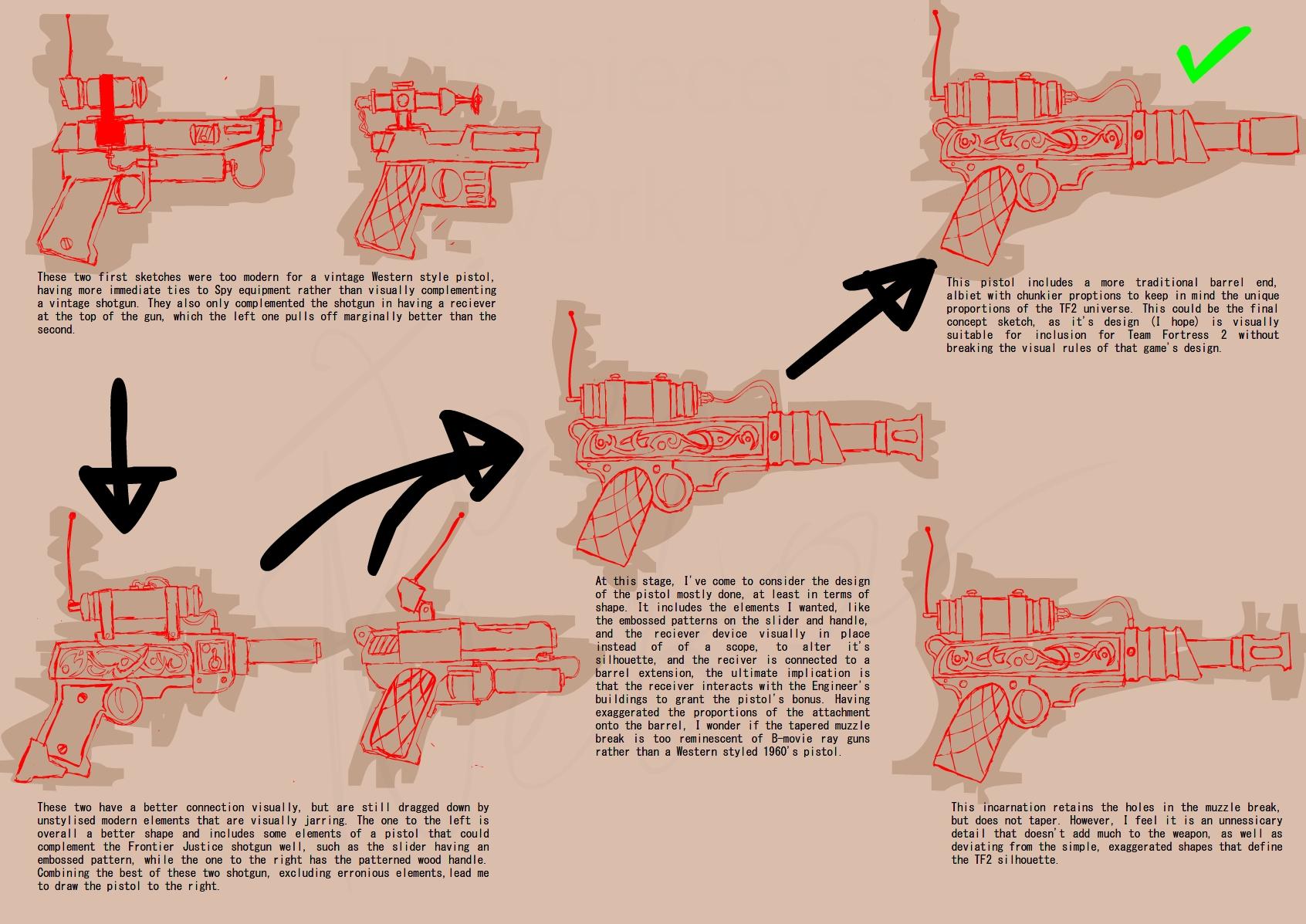 TF2 Frontier Justice Pistol concept sketches by Noizeblaze