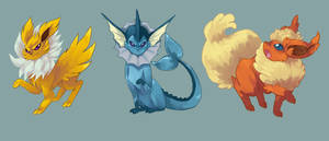 Jolteon, Vaporeon, Flareon! by TheDeadlyNightshades
