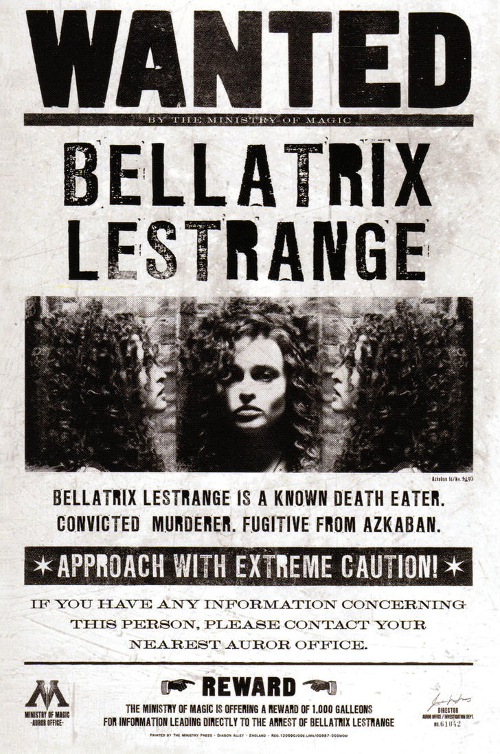 Harry Potter Wanted Poster Bellatrix wanted poster by