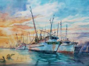 FMB Shrimp Boats Sunset Watercolor