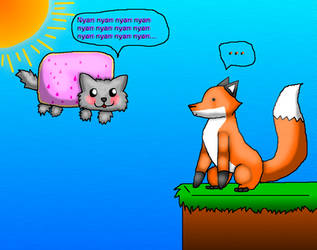 Stupid Fox meets Fuzzy Nyan Cat by Romeh96