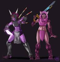 Aza and Ada (Starbound) by MoonstalkerWerewolf