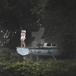 Twins from the past and abandoned boat by thefirebomb