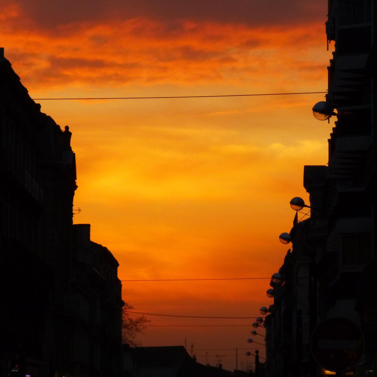 ciel orange sur un boulevard by nicolapin