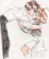 Sakura and Syaoran Kiss by ThePurpleSkittle