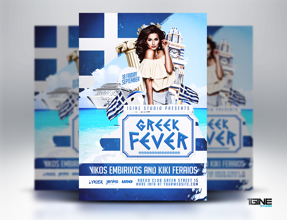 greek fever party flyer template by 1gine