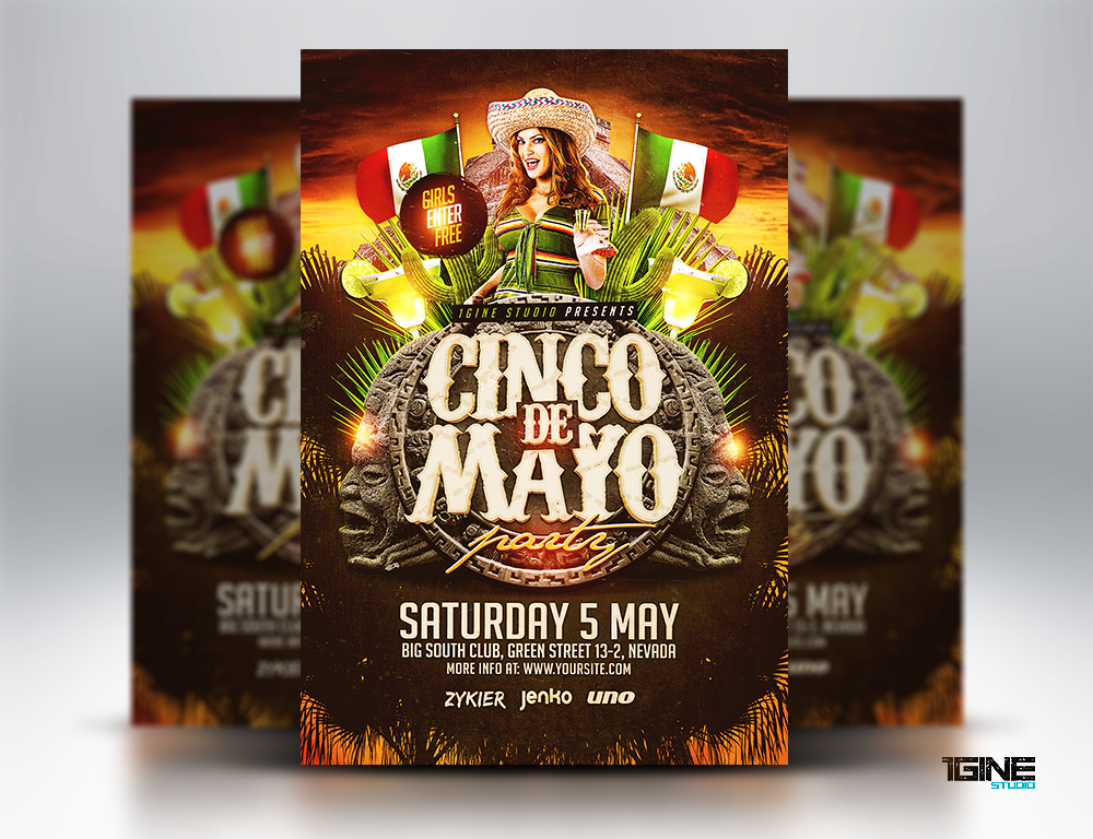 cinco de mayo party flyer template by 1gine on deviantart