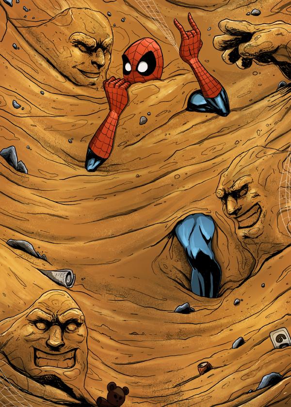 Spiderman vs Sandman by cury