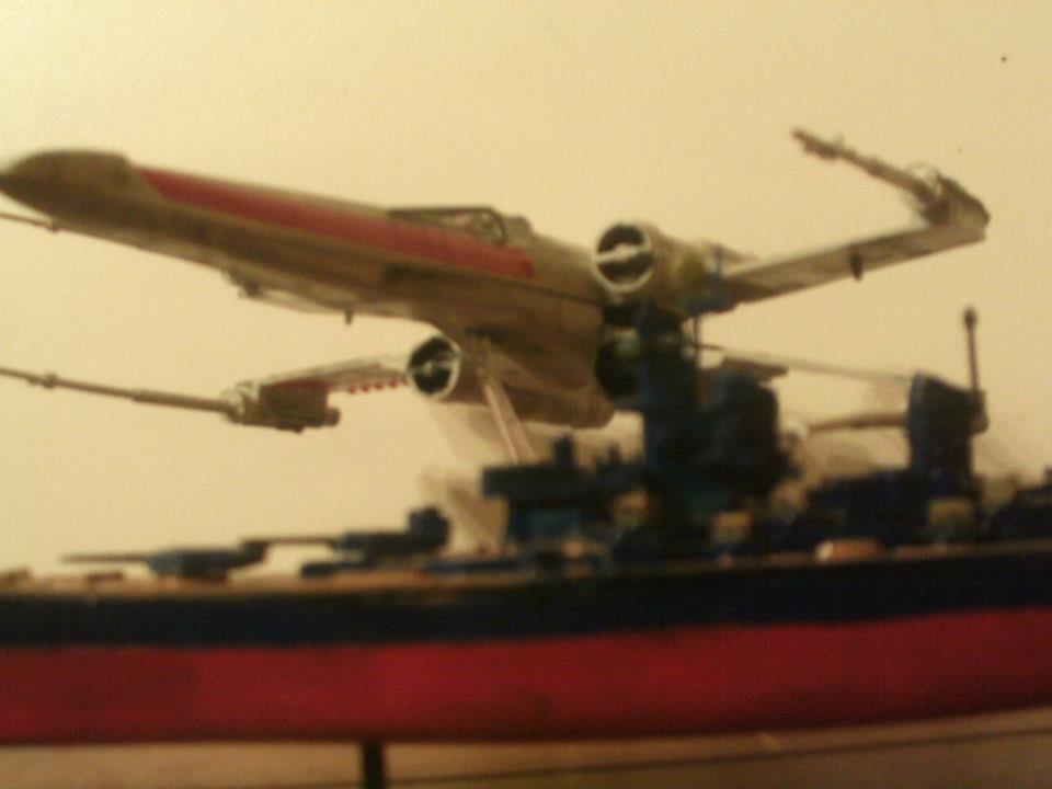 X-Wing Overshadowing USS Missouri by JorundShadefur