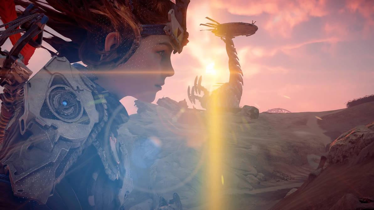 Patrolling Sunfall with a Tallneck by JorundShadefur