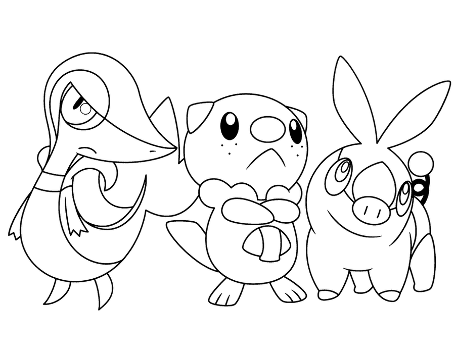 Snivy tepig and oshawott base by brightespeon on deviantart for Snivy coloring pages