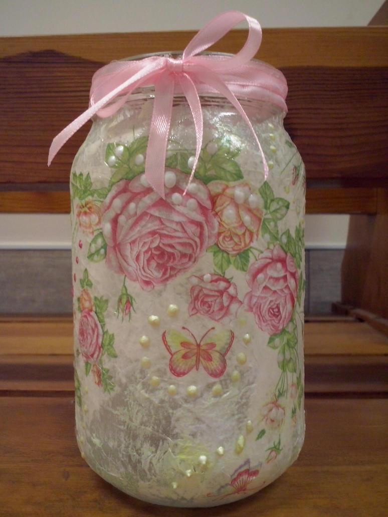 Decoupage - A flower lantern - 2nd version by Akacja777