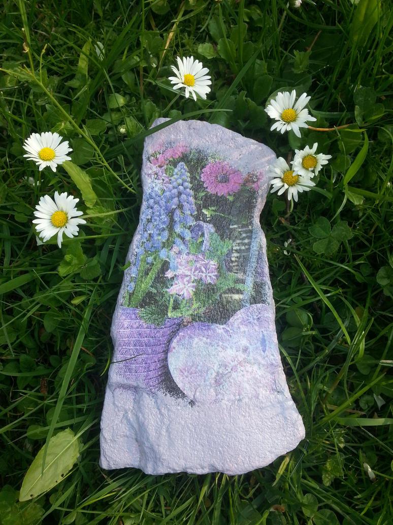 Decoupage - Flower Stone by Akacja777