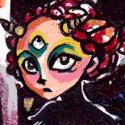"""Un dessin fait pour le concours Tsumistar Lilou et Khaly. J'ai pas mal réinterprété leur design et leur """"aura"""", je n'y arrivais pas du tout sinon :I ... Je l'ai fait un peu sur un coup de tête avec ce qui trainait sur le bureau de ma maman et dans ma trousse: Encre noire, crayons de couleurs, fluo, blanco... Le dessin fait un réalité la taille d'un A5 (il est dans mon carnet de croquis en fait.)"""