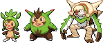 Chespin, Quilladin and Chesnaught by Hooded-Bird