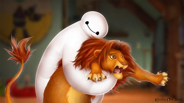 Baymax and Simba - Hairy baby! by KhaliaArt
