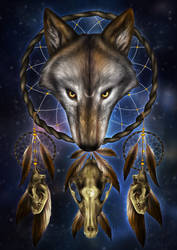 Wolf Skull Dream Catcher by KhaliaArt