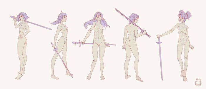 Poses with sword