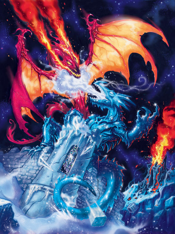 Fire and ice dragons by rkartist634 on deviantart for Fire and ice tattoo shop