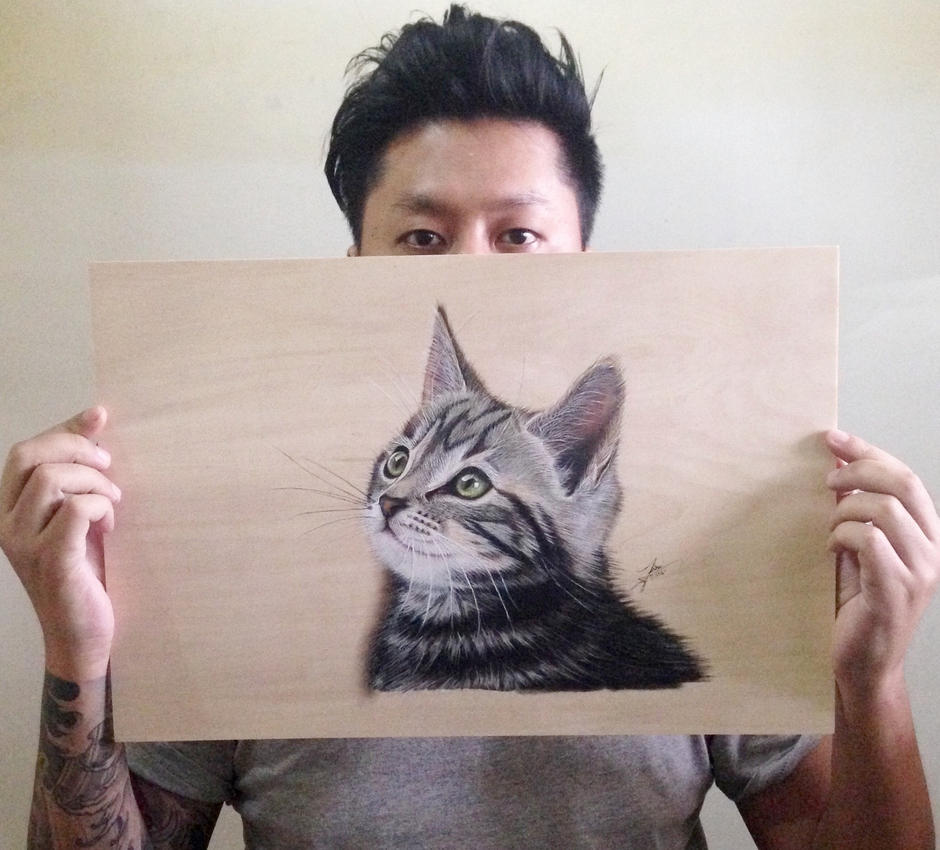 Selfie with my cat. by ivanhooart