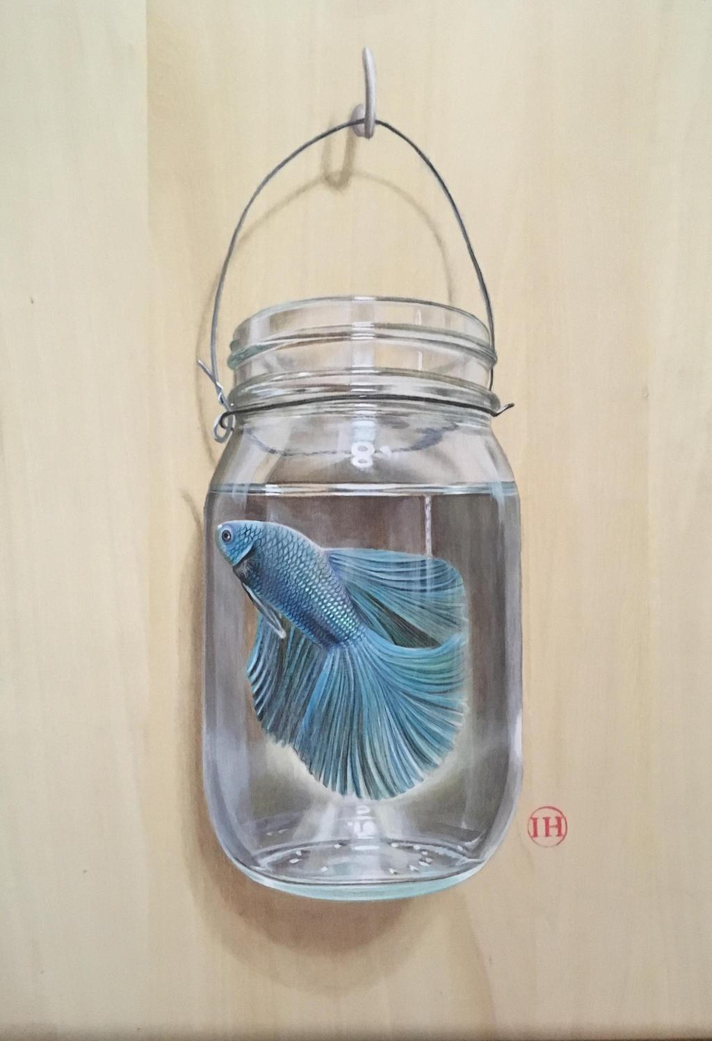 Betta fish in a jar by ivanhooart on deviantart for Fish in a jar