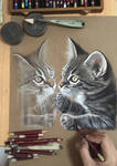 Pastel drawing of a cat/reflection