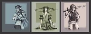 Aven, Kae'Rilia and Serina (Character Requests) by FrerinHagsolb